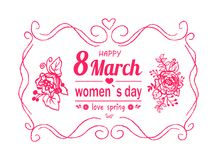 Happy Womens Day March 8 Greeting Card with Frame. Happy womens day March 8 greeting card design, abstract framing and pink text decorated by flowers vector Stock Image