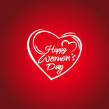 Happy Womens Day. 8 march greeting card. Hand lettering on the background framework of hearts. Woman Day lettering card. Happy Womens Day. 8 march greeting card Stock Photos