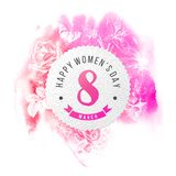 Happy Womens Day 8 March round banner. Happy Womens Day 8 March paper round banner over pink watercolor background Royalty Free Stock Photography