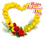Happy Womens Day March 8 text. Yellow mimosa and red rose wreath heart shape greeting card. Vector illustration isolated on white background Stock Image