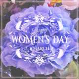 Happy Womens Day. 8 March  on unfocused floral Royalty Free Stock Image