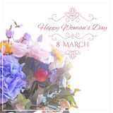 Happy Womens Day. 8 March  on unfocused floral Stock Images