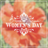 Happy Womens Day. 8 March  on unfocused floral. Background. Vector illustration Stock Photos