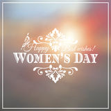 Happy Womens Day. 8 March  on unfocused floral Royalty Free Stock Photo