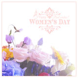 Happy Womens Day. 8 March  on unfocused floral Royalty Free Stock Images