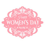 Happy Womens Day. 8 March  on unfocused floral Royalty Free Stock Photography