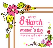 Happy Womens Day 8 March, Vector Illustration. Happy womens day 8 March, love spring, poster with frame and flowers in blossom, heart icon and lines as royalty free illustration