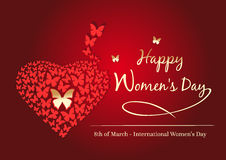 Happy Womens Day. 8 March. Womens day design. Gold butterfly on red background. Red background with fluttering butterflies in the shape of heart. Vector stock illustration