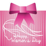 Happy womens day pink card with bow. Illustration eps 10 Royalty Free Stock Photography