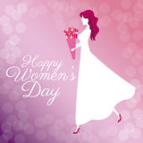 Happy womens day poster girl bouquet flowers bubbles background Stock Photo