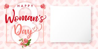 Happy Womens day rose flower and hearts greeting card. Lettering invitations for the International Women`s Day, 8 March with text, roses, paper and heart Royalty Free Stock Photo