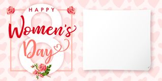 Happy Womens day rose flower and hearts greeting card. Lettering invitations for the International Women`s Day, 8 March with text, roses, paper and heart Royalty Free Stock Image