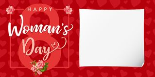 Happy Womens day rose flower and hearts red card. Lettering invitations for the International Women`s Day, 8 March with text, roses and heart Royalty Free Stock Photos
