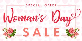Happy Womens day rose flower and hearts Sale banner. Sale Women`s Day greeting card template with typography text happy womens day on pink hearts background Stock Photos