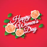 Happy Womens Day. Rose. Inscription Happy Women's Day, a rose with petals. Vector Stock Photos