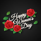 Happy Womens Day. Rose. Inscription Happy Women's Day, a rose with petals. Vector Stock Images