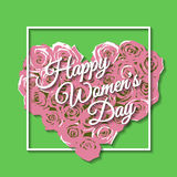 Happy Womens Day. Rose. Inscription Happy Women's Day. Roses form the heart. Frame Stock Images
