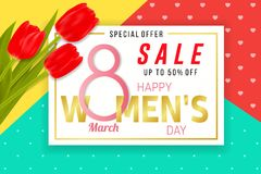 Happy Womens Day sale background with tulips. Happy Women s Day sale background with tulips. Vector illustration. For posters, brochure, banners and ad. 8 March royalty free illustration