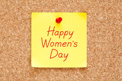 Happy Womens Day Sticky Note stock photo