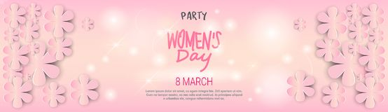Happy Womens Day Template Background Horizontal Banner Beautiful 8 March Decoration Poster. Vector Illustration Stock Photo