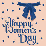 Happy Womens Day. Template greeting card. Lettering handwritten text Royalty Free Stock Photo