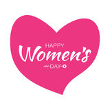 Happy Womens Day Typographic Lettering on pink heart Background with arrow Illustration of a Women`s Day greeting card. Happy Valentines Day Typographic Vector Illustration