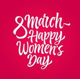Happy Womens Day - vector hand drawn brush pen lettering. Design on pink background. High quality calligraphy for your banner, flyer, card. Celebrate royalty free illustration