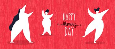 Happy womens day web banner with girls dancing. Women`s day illustration of happy girls dancing in simple flat style for woman holiday celebration. Horizontal vector illustration