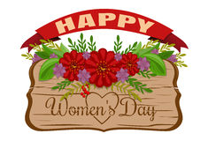 Happy Womens Day. Womens holiday card. March 8. Old wooden boar Royalty Free Stock Images