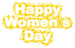Happy womens day. Yellow mimosa flower. Acacia flower symbol of Womens Day. Lettering text for greeting card Stock Photo
