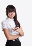 Happy wonder business girl look at cell phone Stock Photos