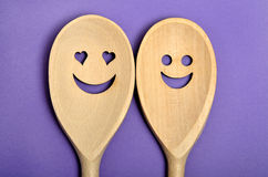 Happy wooden spoon Royalty Free Stock Image