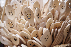 Happy wooden spoons Royalty Free Stock Photos