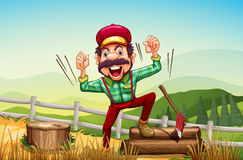 A happy woodman at the hilltop. Illustration of a happy woodman at the hilltop Royalty Free Stock Image