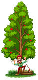A happy woodman under the tree Royalty Free Stock Photo