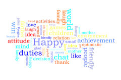 Happy word cloud. Isolated in white background Stock Photography
