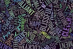 Happy word cloud, business. Happy word cloud, abstract embossed, for web page, graphic design, catalog, textile or texture printing & background Royalty Free Stock Image