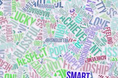 Happy word cloud, business. Happy word cloud, abstract embossed, for web page, graphic design, catalog, textile or texture printing & background Stock Image