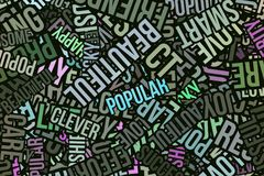 Happy word cloud, business. Happy word cloud, abstract embossed, for web page, graphic design, catalog, textile or texture printing & background Stock Images
