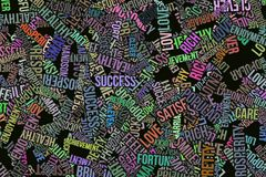 Happy word cloud, business. Happy word cloud, abstract embossed, for web page, graphic design, catalog, textile or texture printing & background Royalty Free Stock Images
