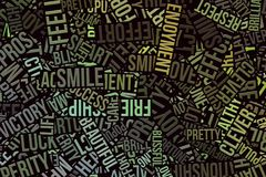 Happy word cloud, business. Happy word cloud, abstract embossed, for web page, graphic design, catalog, textile or texture printing & background Royalty Free Stock Photography