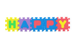 Happy word puzzle isolated. On white background Royalty Free Stock Image