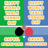 Happy Word Table Tennis Day Stock Image