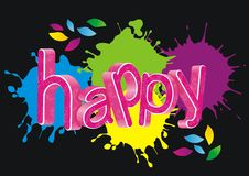 Happy word(vector). Happy word and ink marks on the black background Royalty Free Stock Photography
