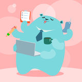 Happy work place. Officer bear love to operate at happy work place illustration Royalty Free Stock Images