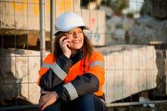 Happy in work -  senior woman engineer Royalty Free Stock Photo