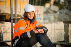 Happy in work -  senior woman engineer Stock Images
