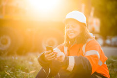 Happy in work -  senior woman engineer Stock Photography