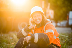 Happy in work -  senior woman engineer Stock Photo