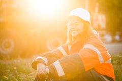 Happy in work -  senior woman engineer Royalty Free Stock Image